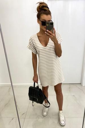 Sukienka w paski V-Stripes beżowa