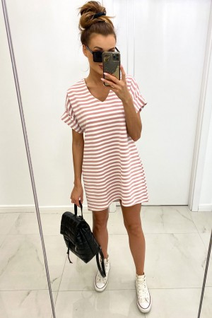 Sukienka w paski V-Stripes pudrowa