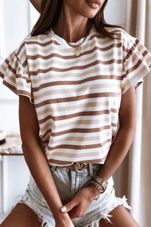 t-shirt w paski Butterfly beż
