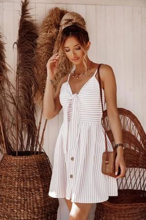 Sukienka w paski Florence biała beżowa