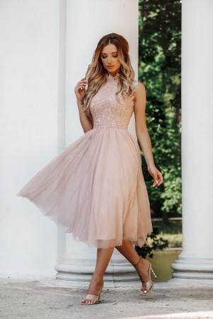 Sukienka koronkowa z tiulem midi Madeline beżowa