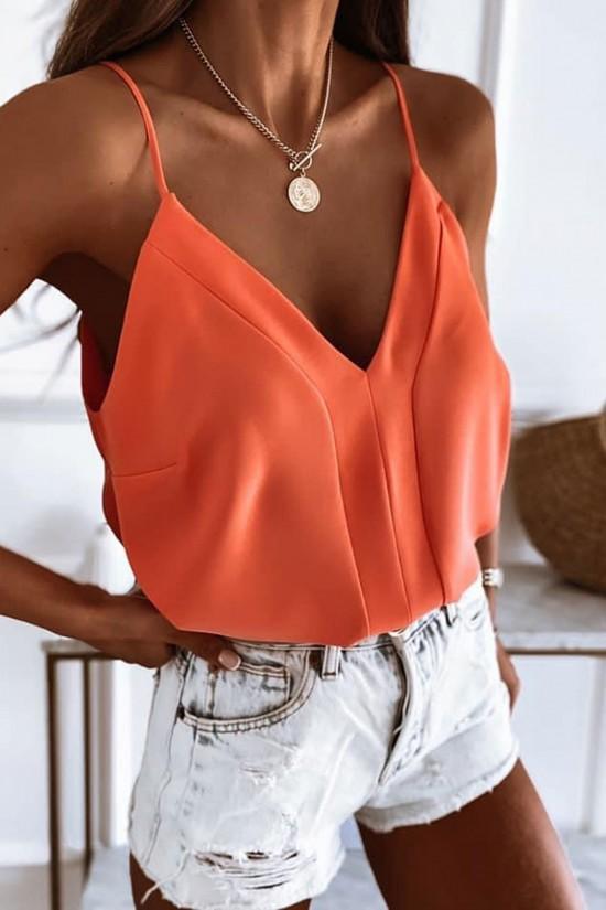 Bluzka na ramiączkach top Bocca pomarańczowy