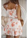Sukienka na ramiączkach w paski Merci beżowa