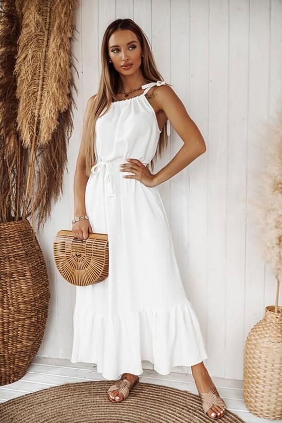 Sukienka maxi na ramiączkach Tropic biała