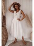 Sukienka koronkowa z tiulem midi Claudia biała