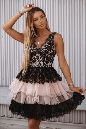 Sukienka koronkowa z falbanami Audrey czarna nude