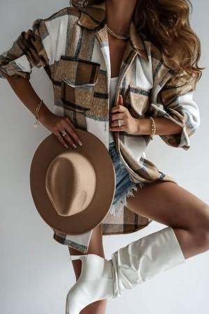 Katana kurtka koszula w kratę Autumn camel