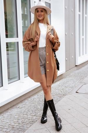 Płaszcz o kroju koszulowym Prima camel