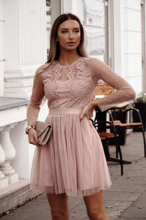 Sukienka koronkowa z tiulem Angel beżowa