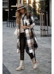 Płaszcz w kratę Sotino beżowy brązowy