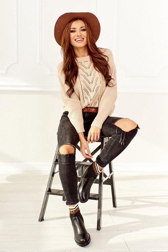 Sweter ażurowy beżowy Gina