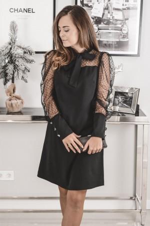 Sukienka z ozdobnymi rękawami i krawatką Pati czarna