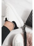 Trampki białe sportowe czarne wstawki Queen