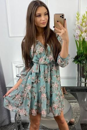 Sukienka zielona z kwiatowym wzorem Florence
