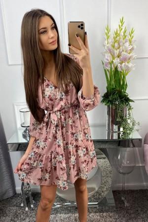 Sukienka różowa z kwiatowym wzorem Florence