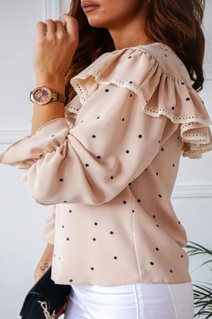 Bluzka z falbaną Bridget Dots beżowa w groszki