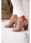 Sandały ażurowe na słupku Marti