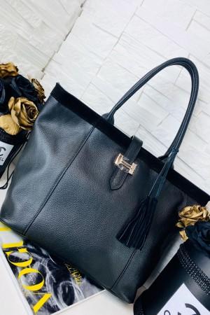 Torebka skórzana shopper bag Hermi czarna