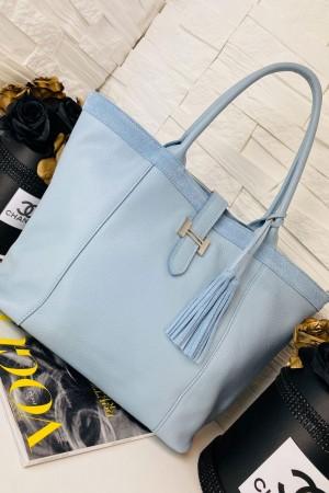 Torebka skórzana shopper bag Hermi błękitna