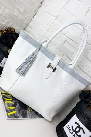 Torebka skórzana shopper bag Hermi biała