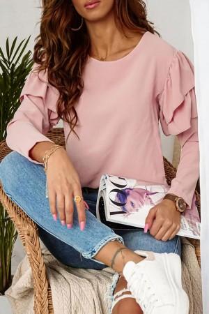 Bluzka z falbanami na rękawach pudrowa Pink Love