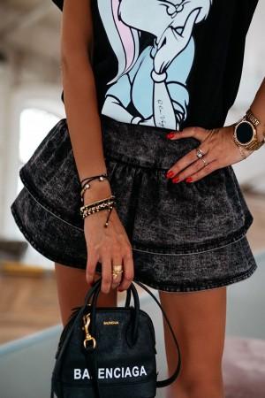 Spódnica jeansowa z falbanami czarna Bloom