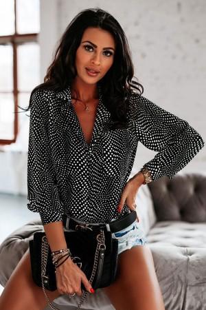 Koszula czarna w groszki Dots