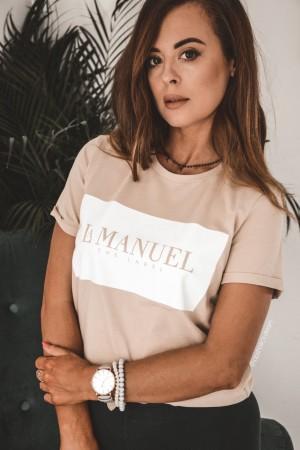 Bluzka t-shirt La Manuel beżowa