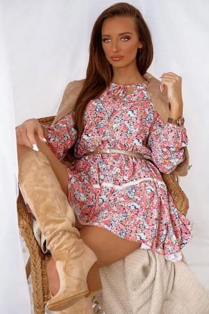 Sukienka w kwiatowy wzór koralowa Miranda