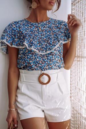 Bluzka z falbanką w kwiatki Roxy