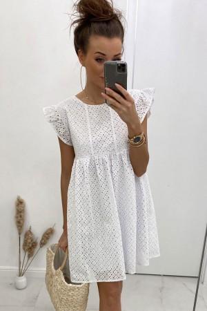 Sukienka ażurowa haftowana biała Wings