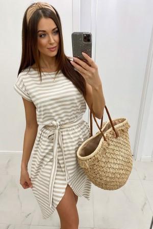 Sukienka w paski beżowa Layla