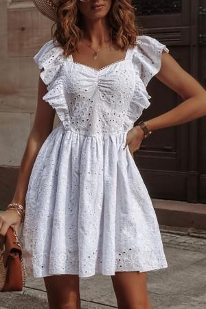 Sukienka haftowana biała Sabrine