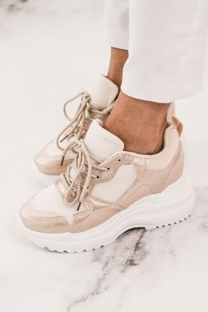 Buty sportowe sneakersy beżowe na platformie Trill