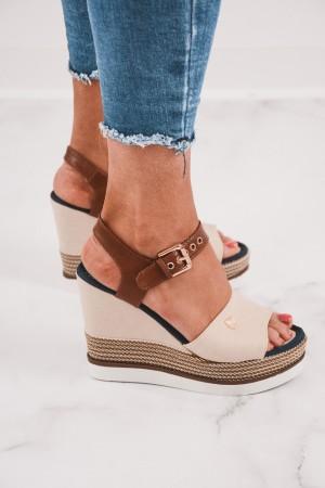 Sandały damskie espadryle na koturnie beżowe Milly