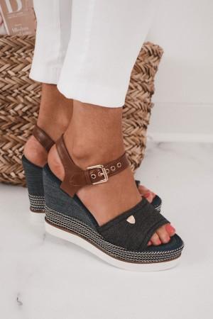 Sandały damskie espadryle na koturnie jeans Milly