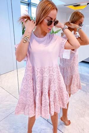 Sukienka ażurowa pudrowa Carmi