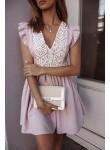Sukienka beżowa lniana z koronką Marbella