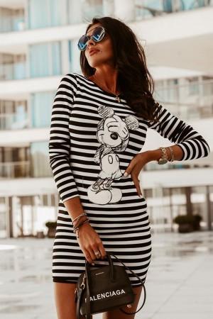 Sukienka w paski Marina Look czarno-biała by O la voga