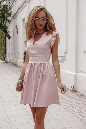 Sukienka lniana Caroline pudrowy róż