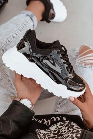 Adidasy buty sportowe czarne lakierowane Miles