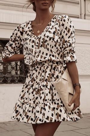 Sukienka w kwiatowy wzór fioletowa Samanta