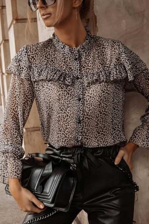 Bluzka koszulowa Ferre w panterkę