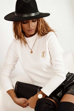 Sweterek półgolf biały Panama