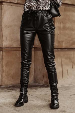 Spodnie z eko skóry ściągacz Lucky czarne