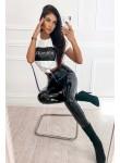 Leginsy lateksowe spodnie La Manuel czarne