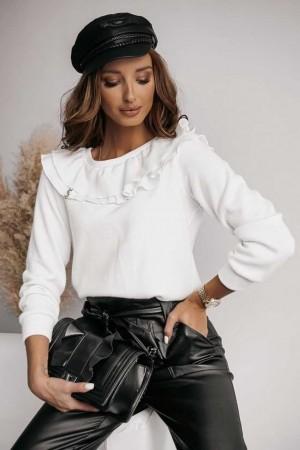 Sweterek z falbanką biały Alice