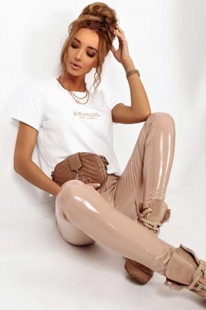 Leginsy lateksowe spodnie La Manuel beżowe