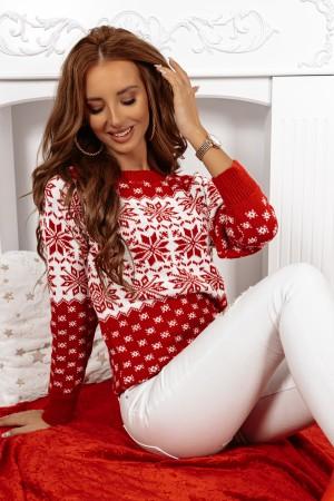 Sweter świąteczny w śnieżynki czerwono biały Snowflake