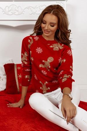 Sweter świąteczny czerwony Ciastek